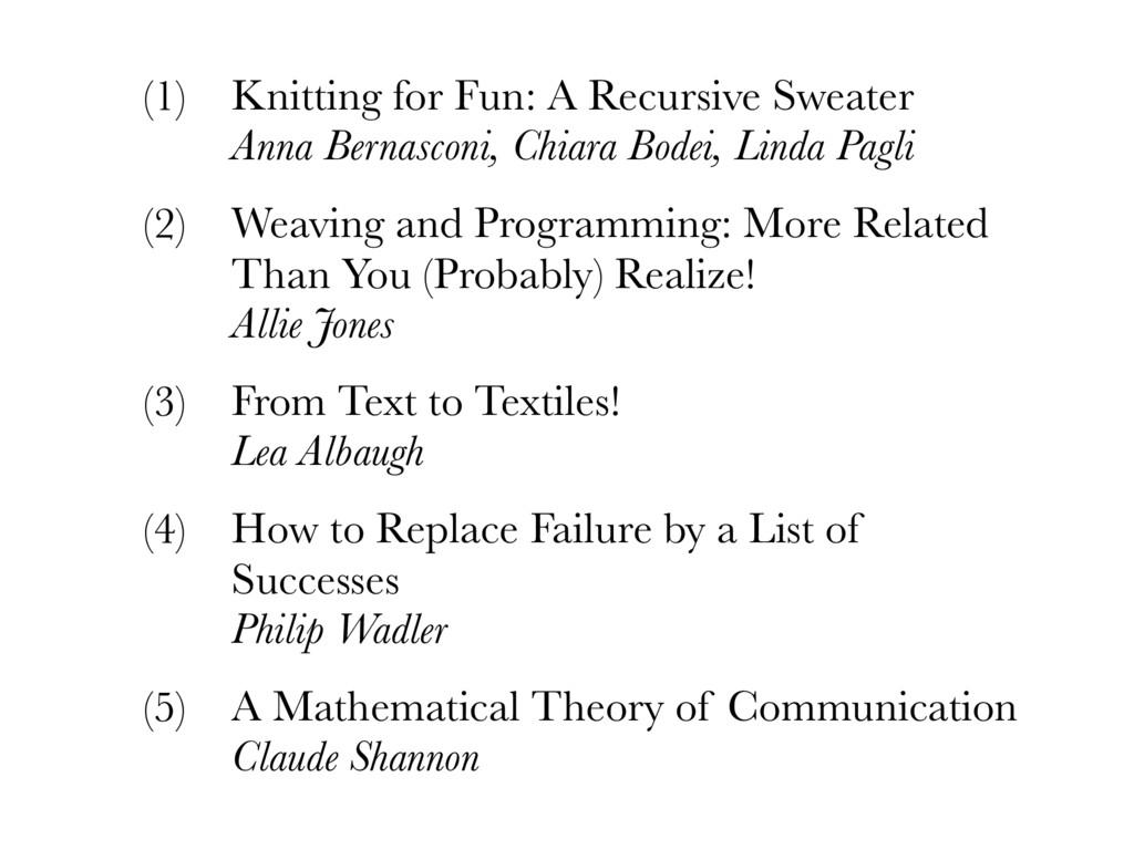 (1) Knitting for Fun: A Recursive Sweater Anna...