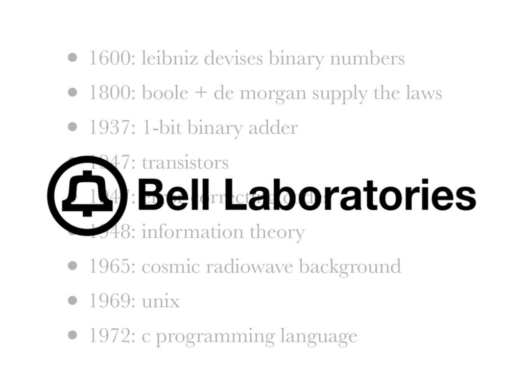 • 1600: leibniz devises binary numbers • 1800: ...