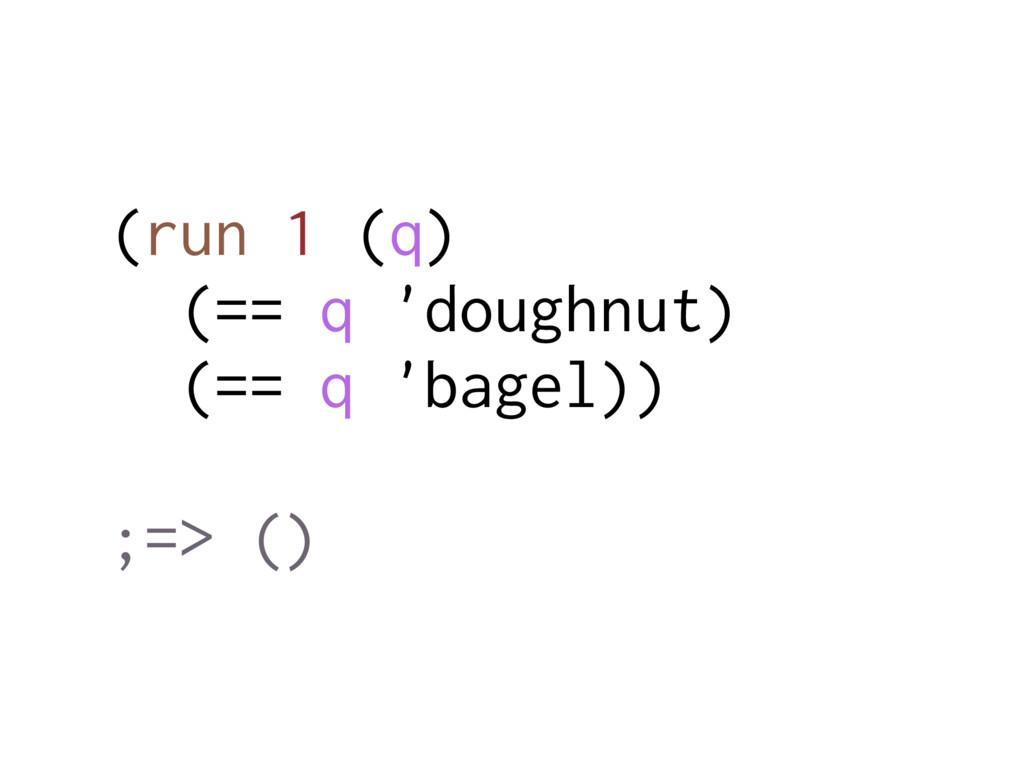 (run 1 (q) (== q 'doughnut) (== q 'bagel)) ;=> ...