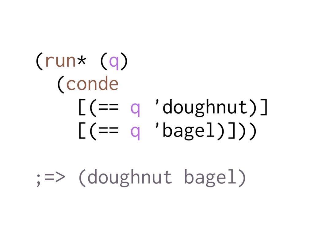 (run* (q) (conde [(== q 'doughnut)] [(== q 'bag...