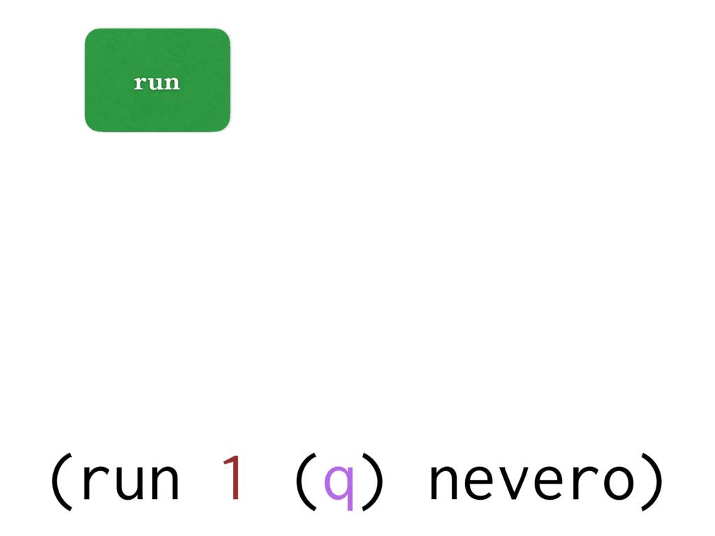 run (run 1 (q) nevero)