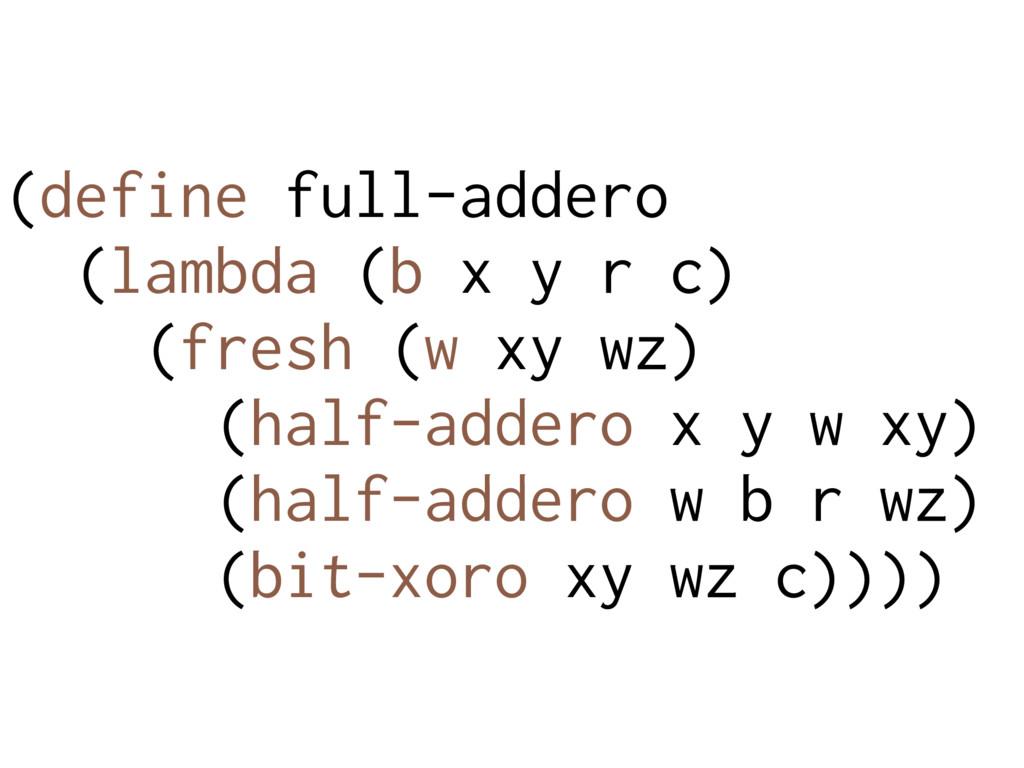 (define full-addero (lambda (b x y r c) (fresh ...