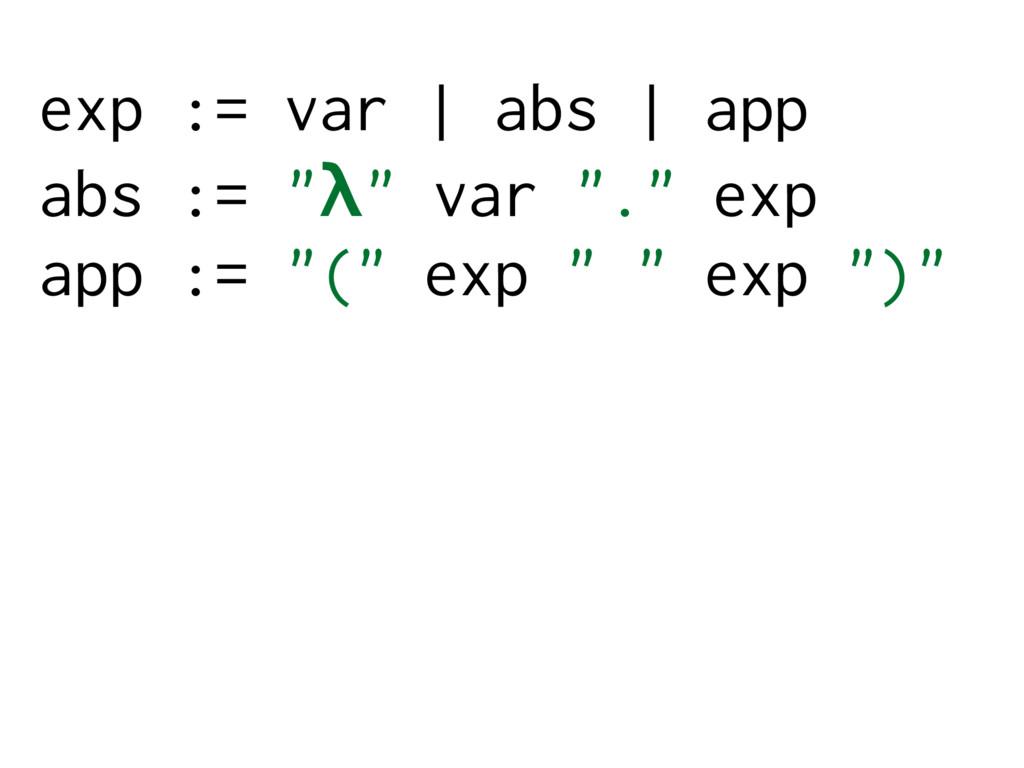 "exp := var | abs | app abs := ""λ"" var ""."" exp a..."