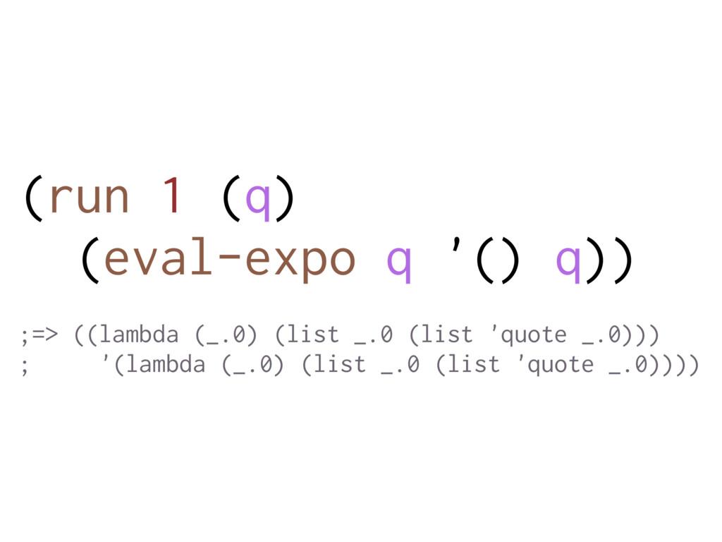 (run 1 (q) (eval-expo q '() q)) ;=> ((lambda (_...