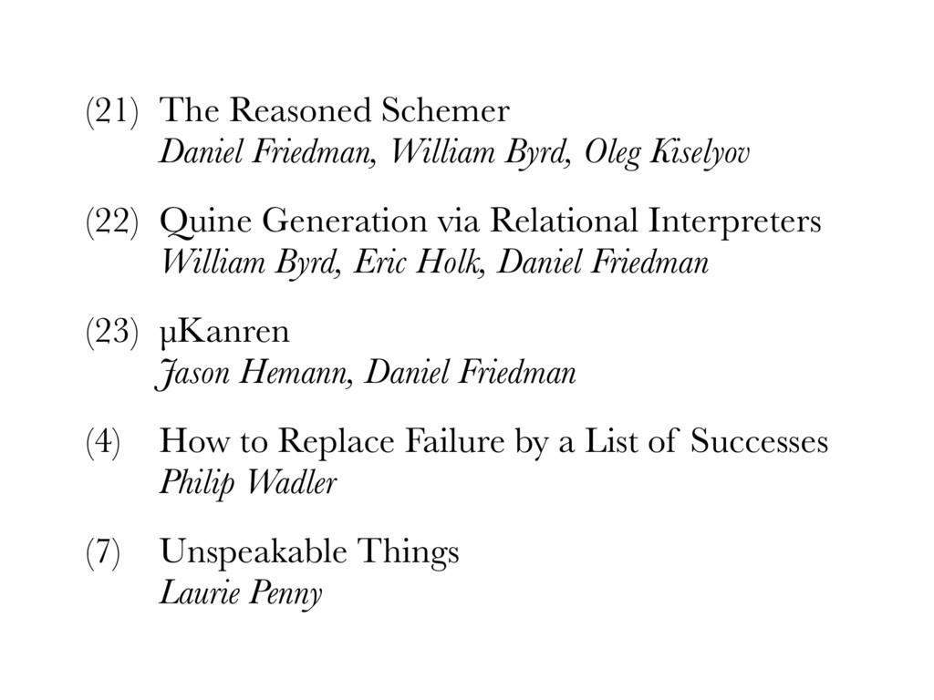 (21) The Reasoned Schemer Daniel Friedman, Wil...