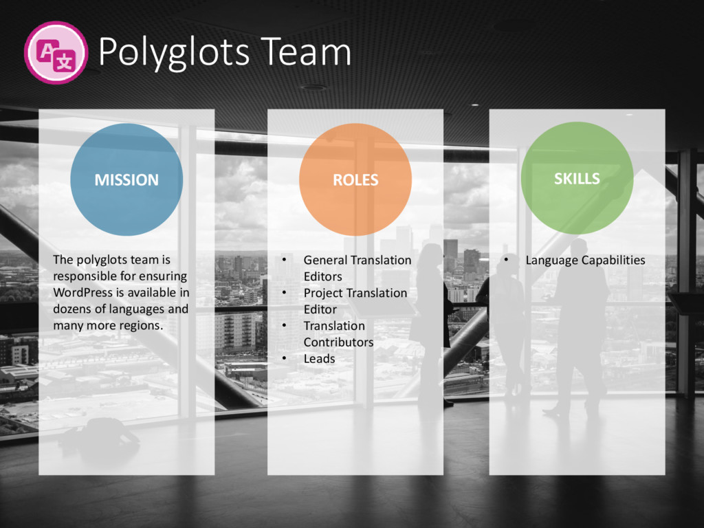 Polyglots Team MISSION ROLES SKILLS • General T...