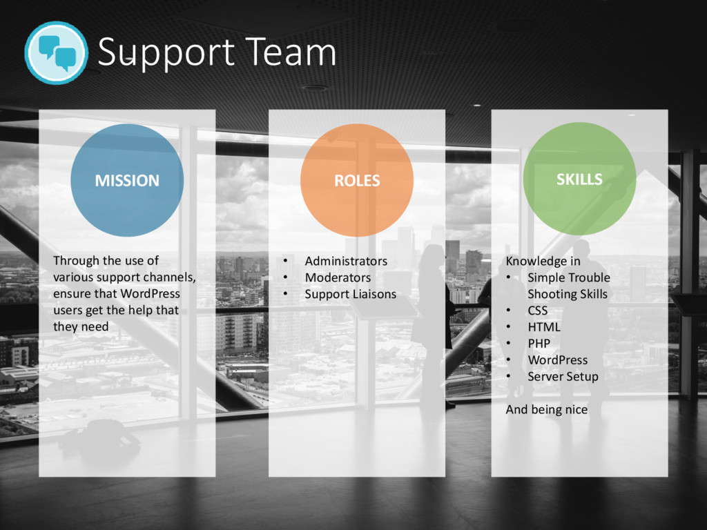 Support Team MISSION ROLES SKILLS • Administrat...
