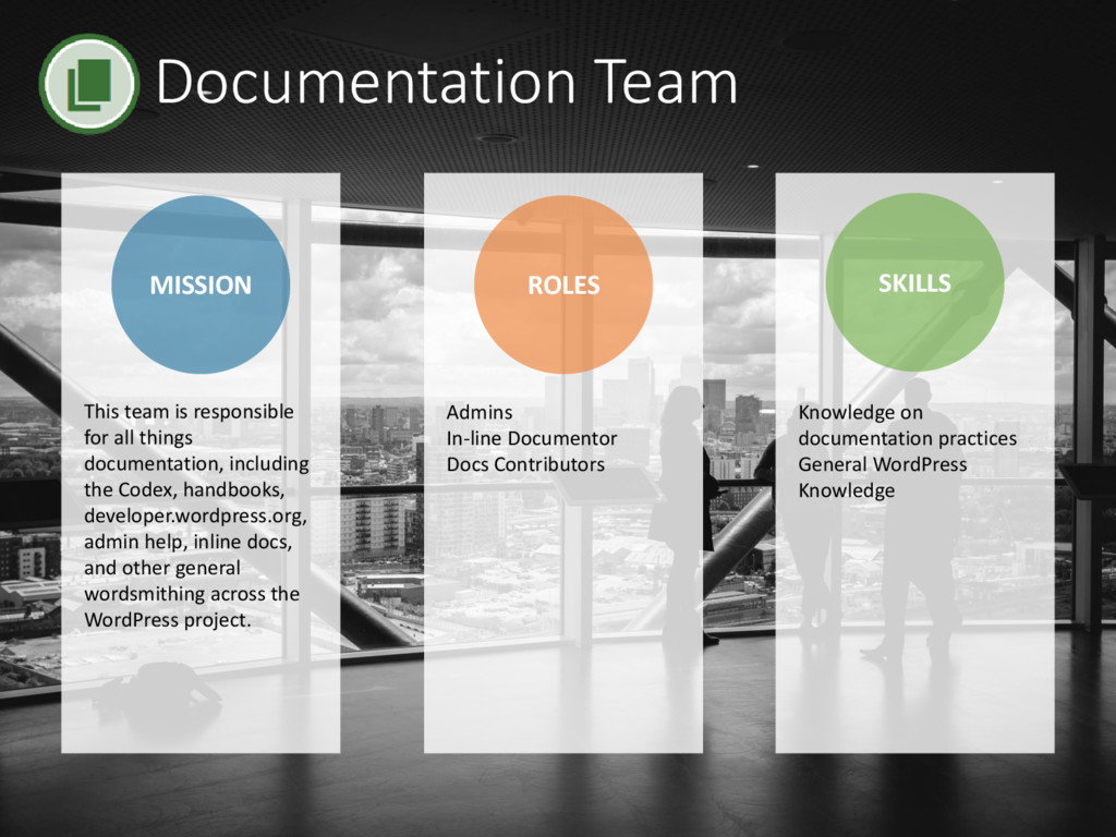 Documentation Team MISSION ROLES SKILLS Admins ...