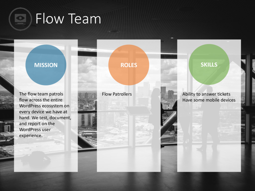 Flow Team MISSION ROLES SKILLS Flow Patrollers ...