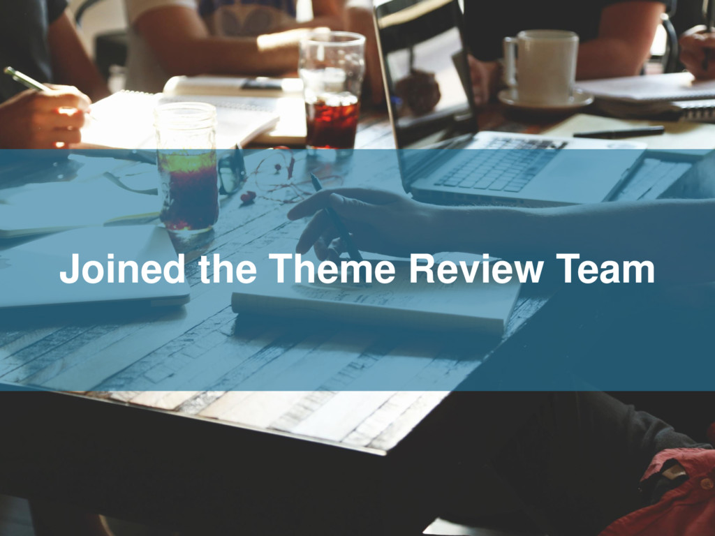 Joined the Theme Review Team
