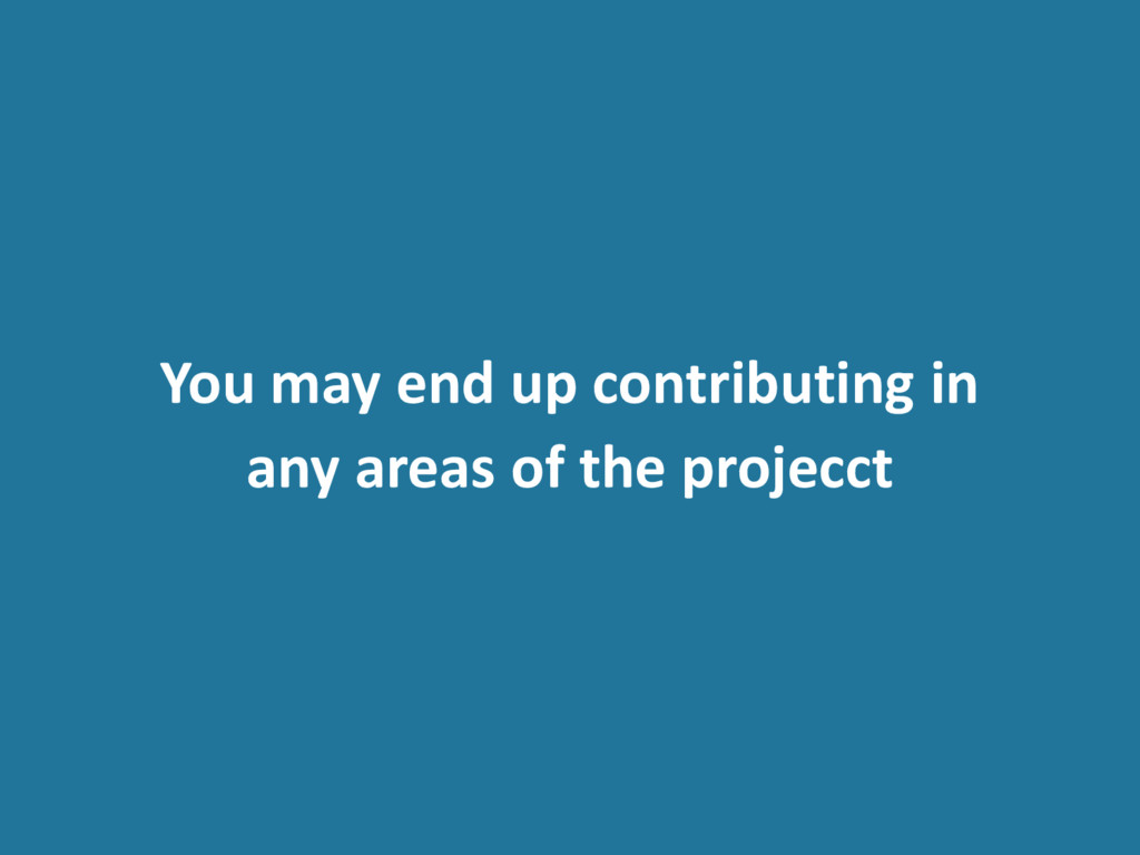 You may end up contributing in any areas of the...