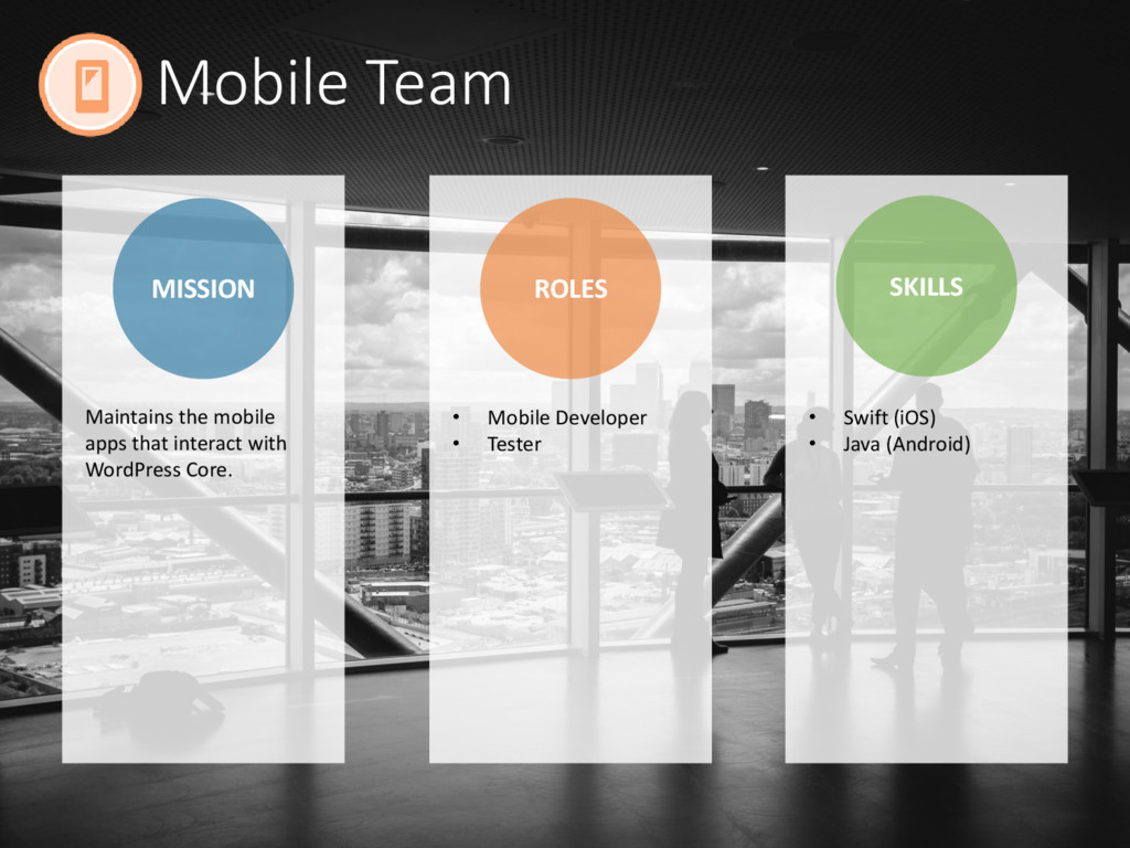 Mobile Team MISSION ROLES SKILLS • Mobile Devel...
