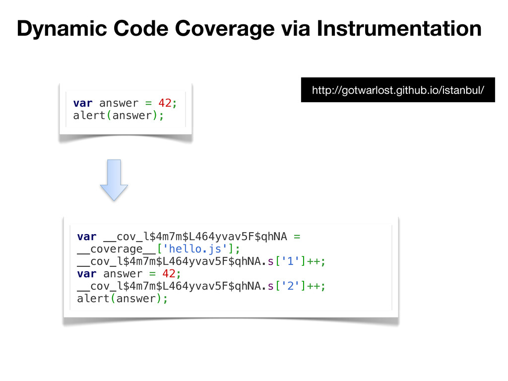 Dynamic Code Coverage via Instrumentation var a...