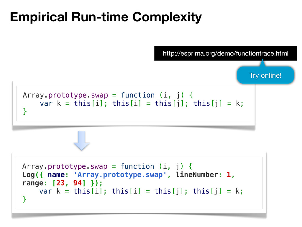 Empirical Run-time Complexity Array.prototype.s...