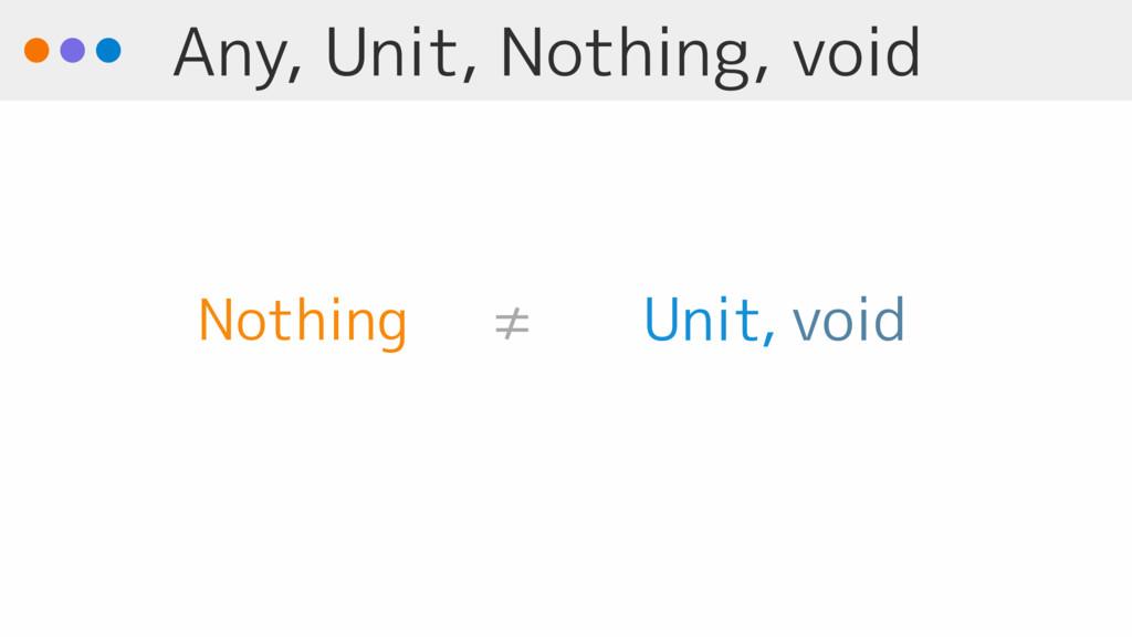 Any, Unit, Nothing, void void Unit Nothing ≠ ,