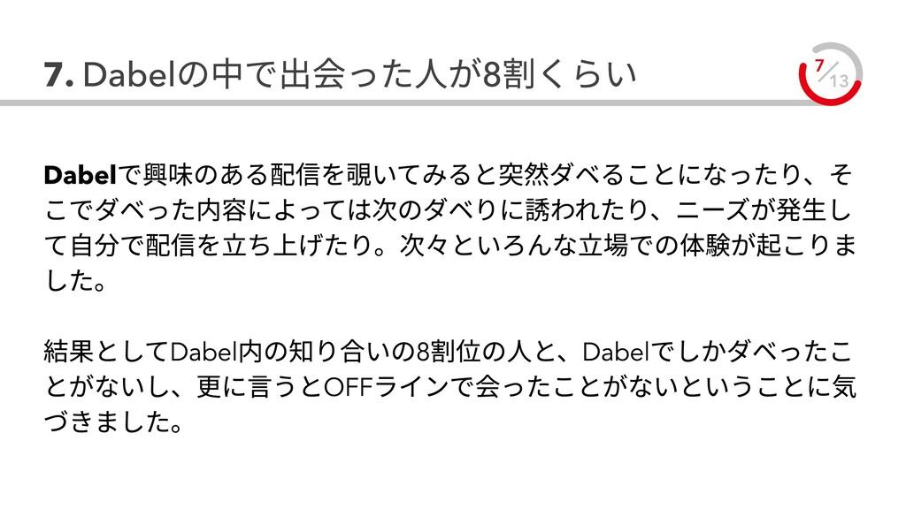 13 7 7. Dabelの中で出会った人が8割くらい Dabelで興味のある配信を覗いてみる...