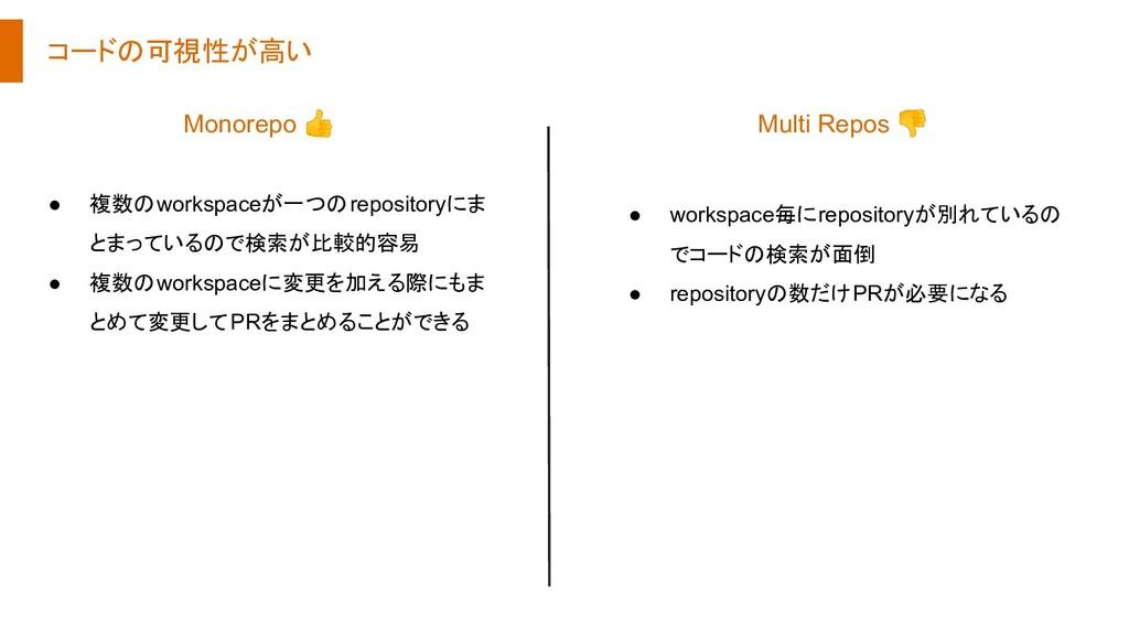 コードの可視性が高い ● 複数のworkspaceが一つのrepositoryにま とまってい...