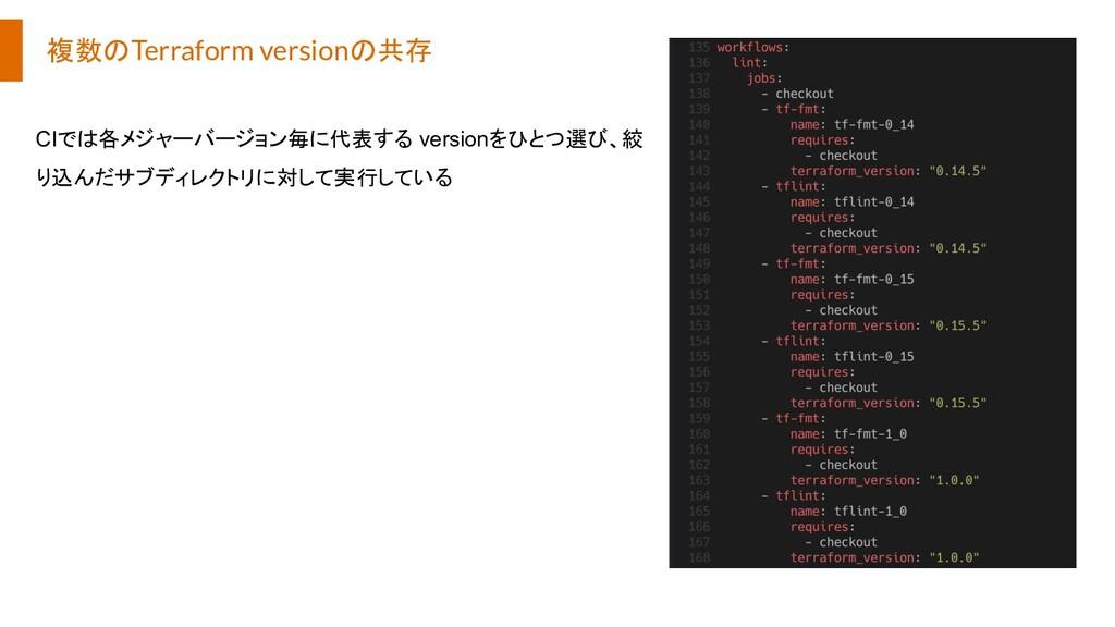 複数のTerraform versionの共存 CIでは各メジャーバージョン毎に代表する ve...