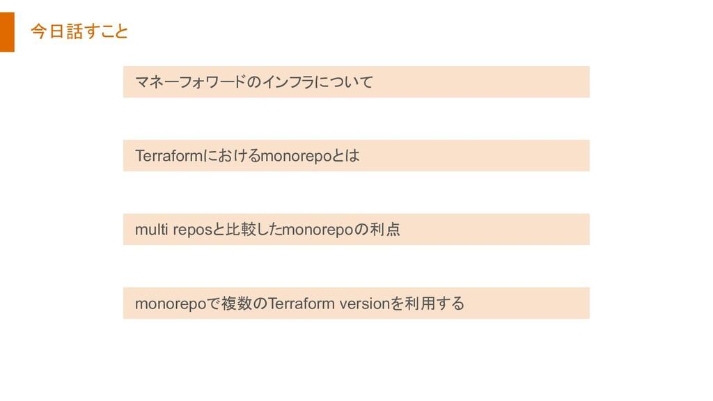 今日話すこと Terraformにおけるmonorepoとは マネーフォワードのインフラについ...