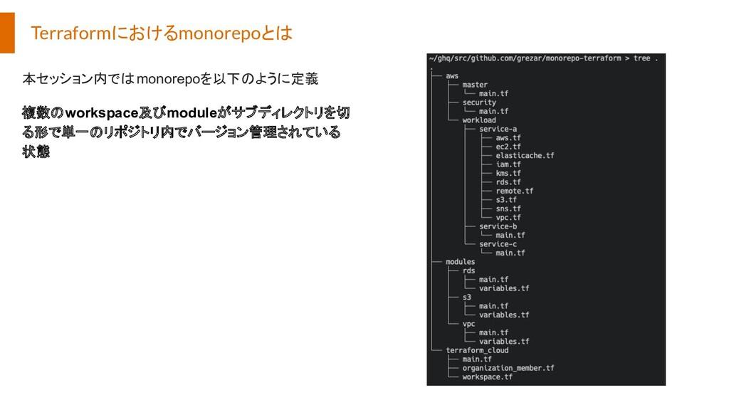 Terraformにおけるmonorepoとは 本セッション内ではmonorepoを以下のよう...