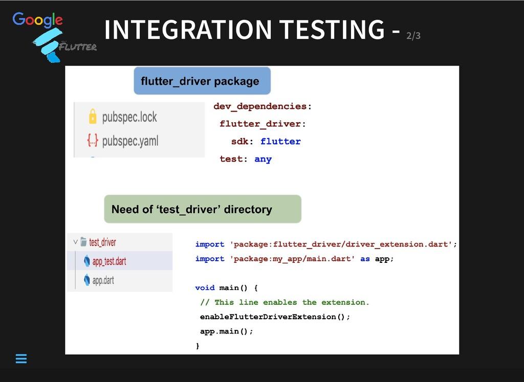 INTEGRATION TESTING - INTEGRATION TESTING - 2/3...