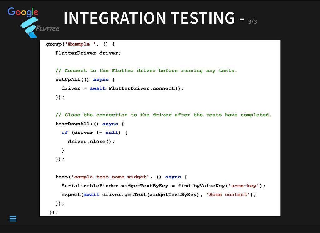 INTEGRATION TESTING - INTEGRATION TESTING - 3/3...