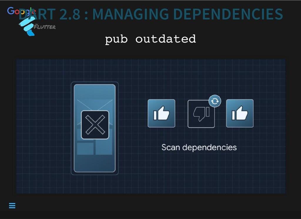DART 2.8 : MANAGING DEPENDENCIES DART 2.8 : MAN...