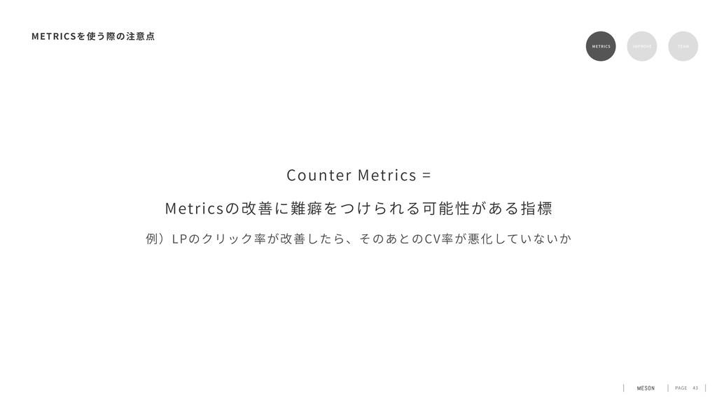 PAGE 43 METRICS METRICS RETENTION TEAM Counter ...