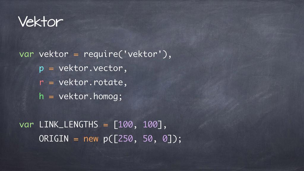 var vektor = require('vektor'), p = vektor.vect...