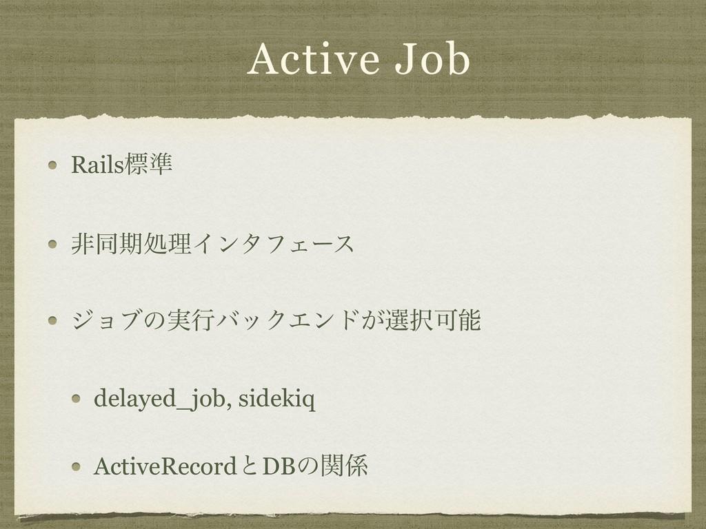 Active Job Railsඪ४ ඇಉظॲཧΠϯλϑΣʔε δϣϒͷ࣮ߦόοΫΤϯυ͕બ...