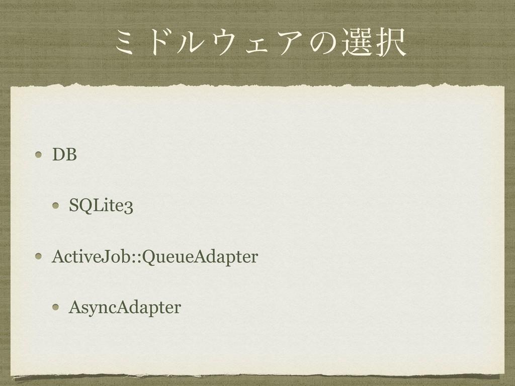 ϛυϧΣΞͷબ DB SQLite3 ActiveJob::QueueAdapter As...