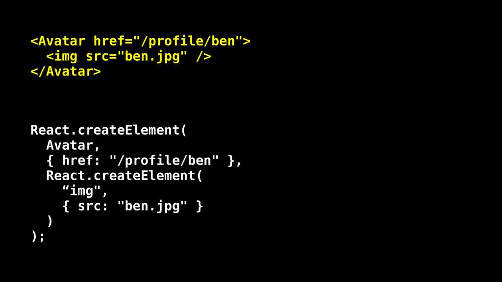 """<Avatar href=""""/profile/ben""""> <img src=""""ben.jpg""""..."""