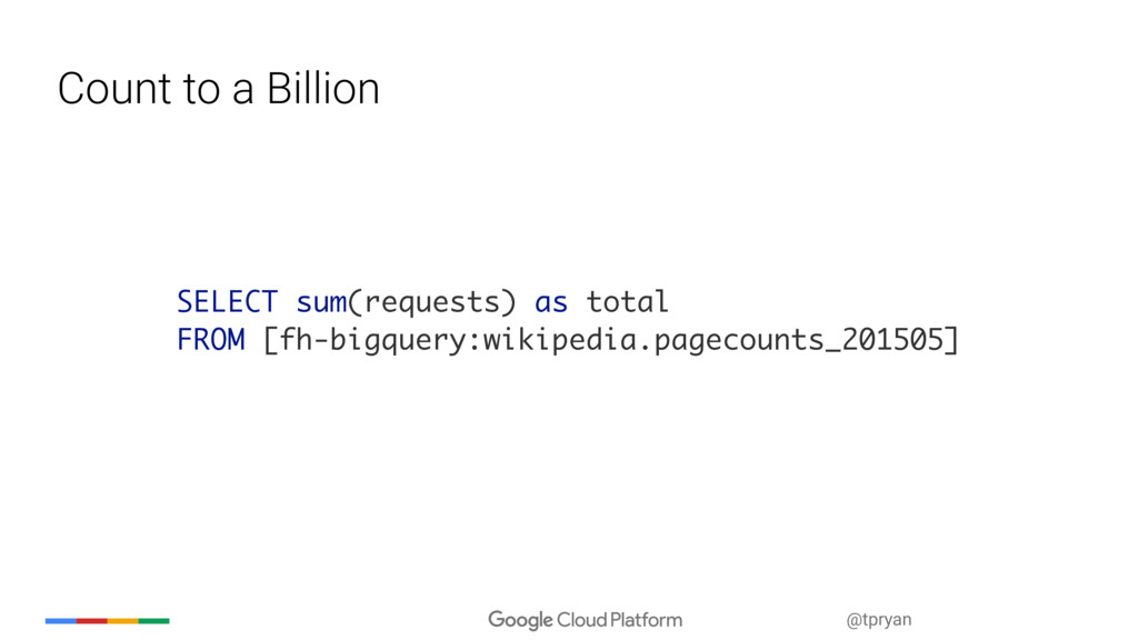 @tpryan Count to a Billion SELECT sum(requests)...