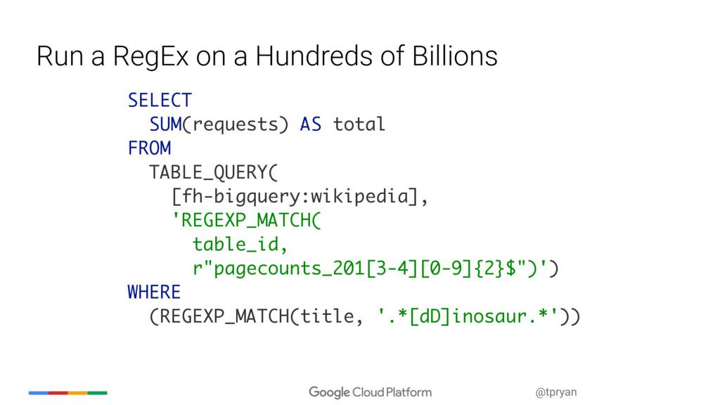 @tpryan Run a RegEx on a Hundreds of Billions S...
