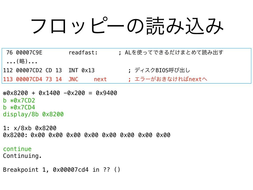 ϑϩοϐʔͷಡΈࠐΈ 76 00007C9E readfast: ; ALΛͬͯͰ͖Δ͚ͩ·...