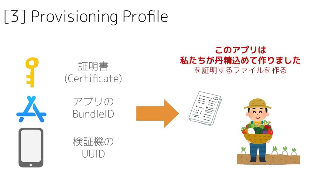 [3] Provisioning Profile 証明書 (Certificate) アプリの B...