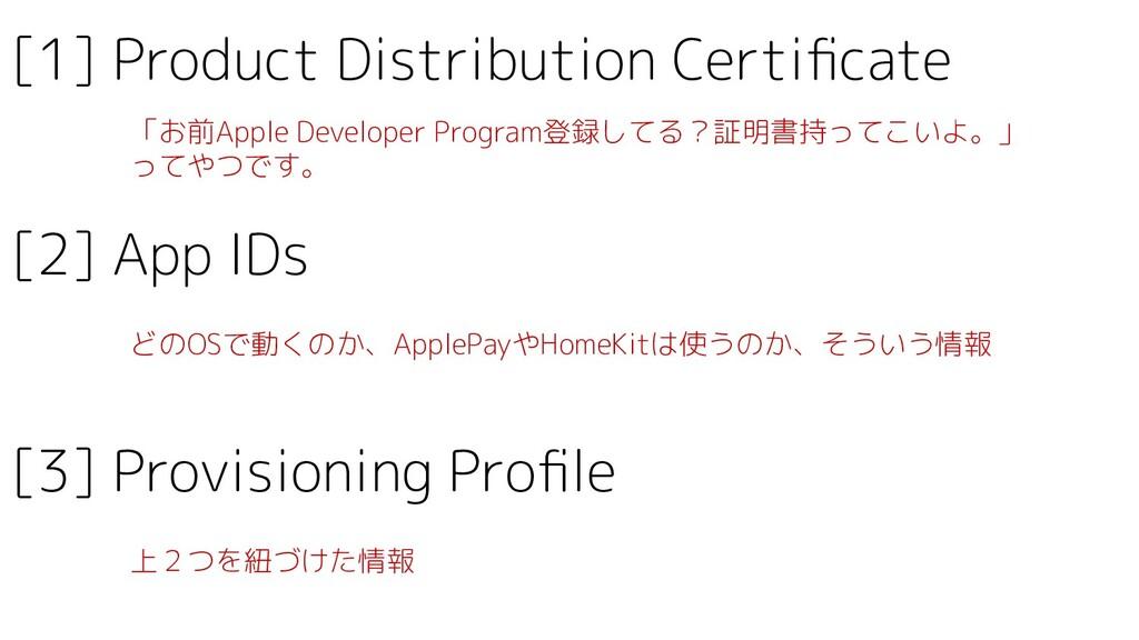 [1] Product Distribution Certificate 「お前Apple De...