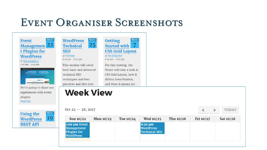 Event Organiser Screenshots