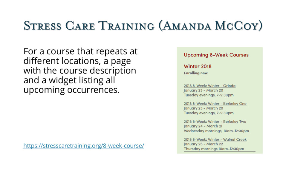 Stress Care Training (Amanda McCoy) For a cours...