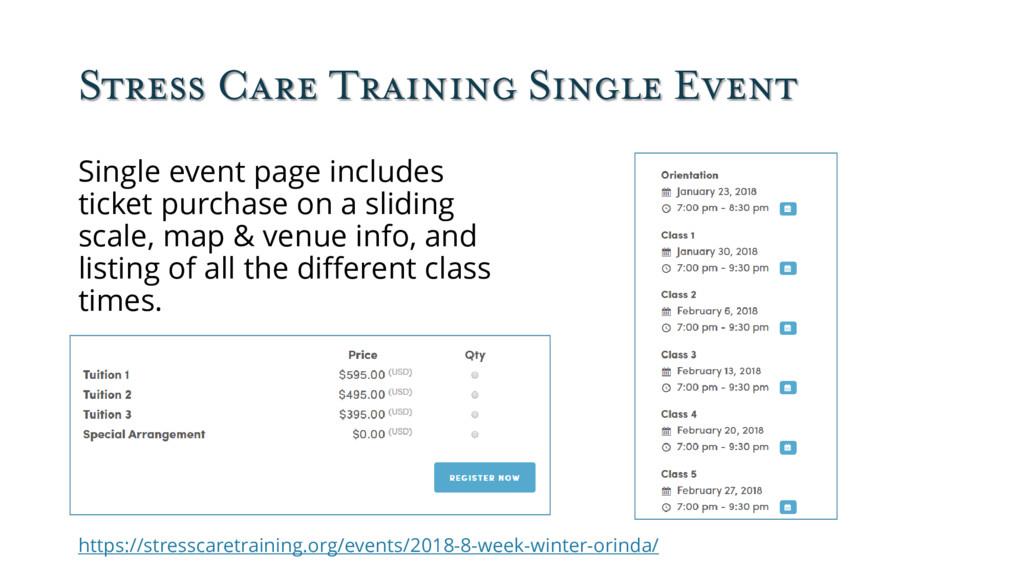 Stress Care Training Single Event Single event ...