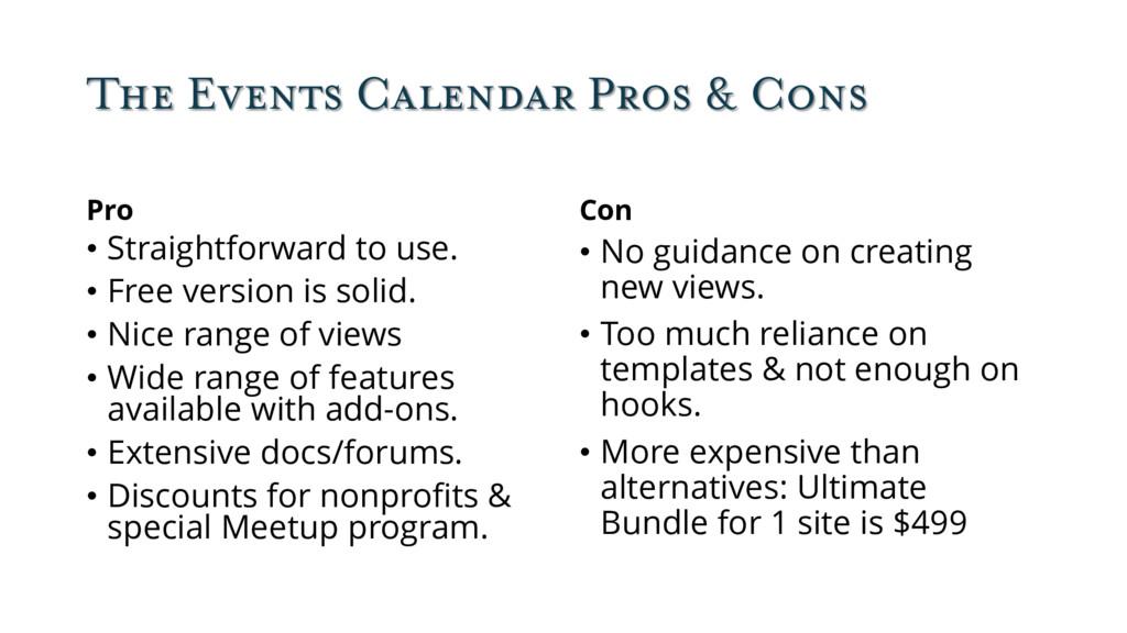 The Events Calendar Pros & Cons Pro • Straightf...