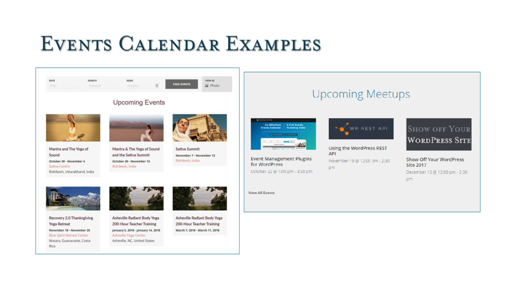 Events Calendar Examples