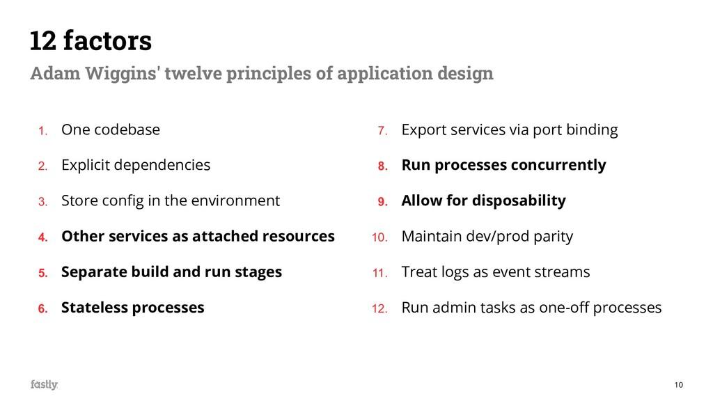 10 12 factors Adam Wiggins' twelve principles o...