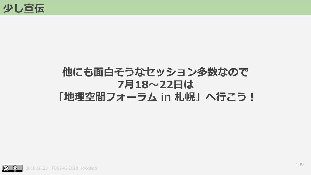2018.06.23 FOSS4G 2018 Hokkaido 109 少し宣伝 他にも面白そ...