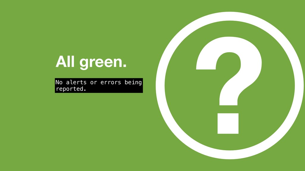 ? All green. No alerts or errors being