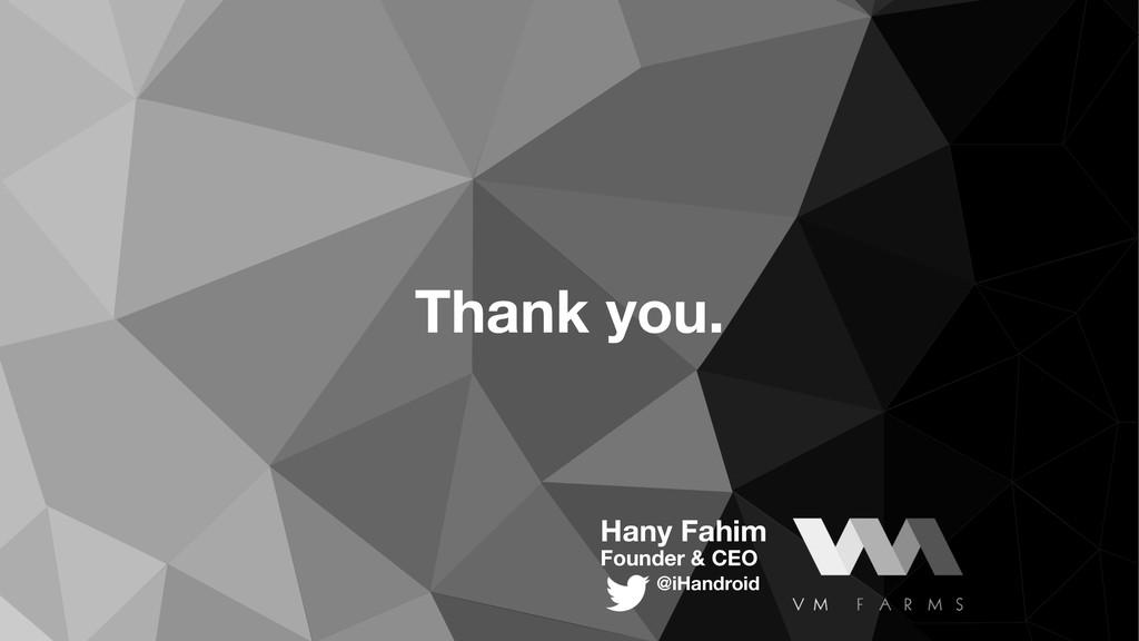 Hany Fahim Founder & CEO @iHandroid Thank you.