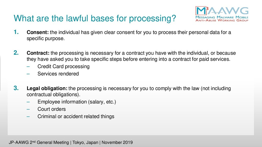 What are the lawful bases for processing? 1. Co...