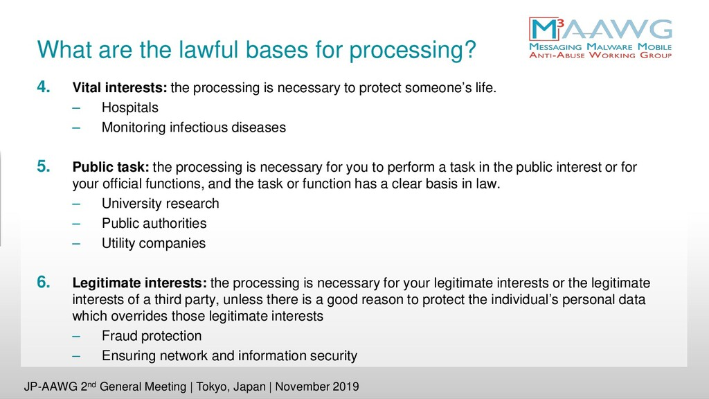 What are the lawful bases for processing? 4. Vi...