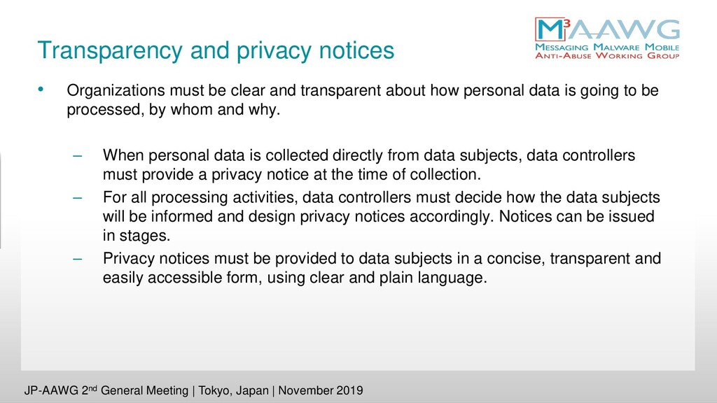 Transparency and privacy notices • Organization...