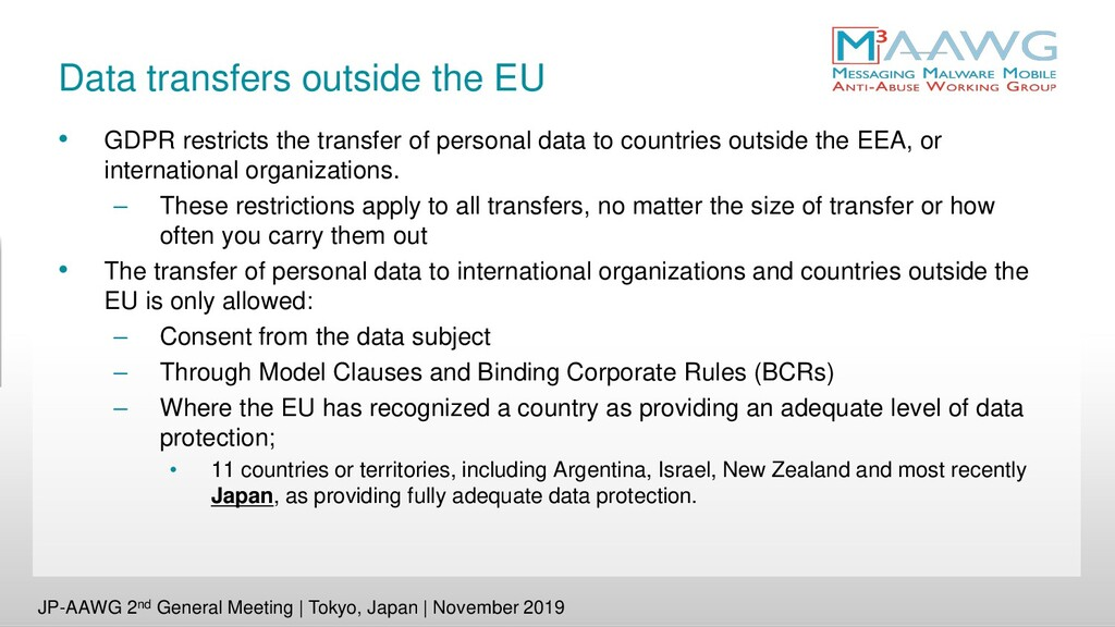 Data transfers outside the EU • GDPR restricts ...